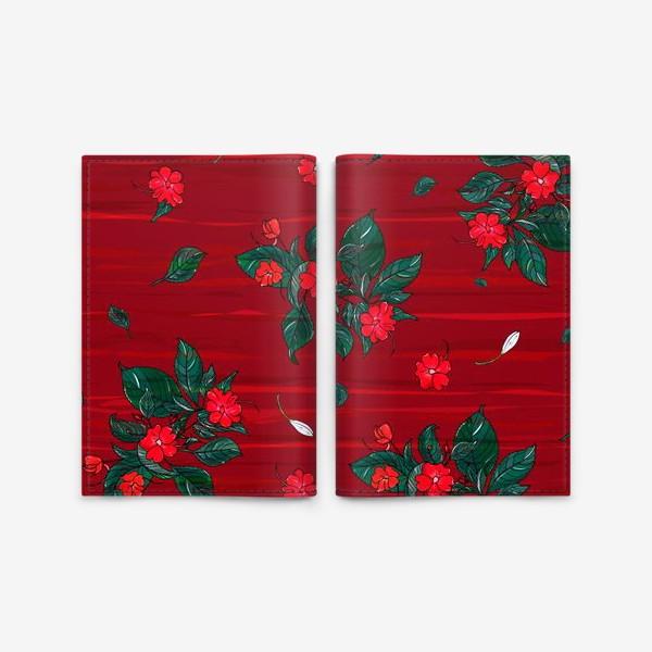 Обложка для паспорта «красные цветы. бальзамин»