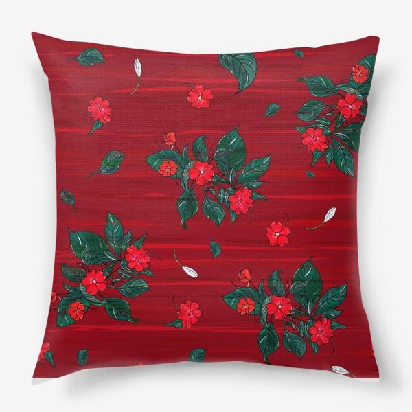 Подушка «красные цветы. бальзамин»
