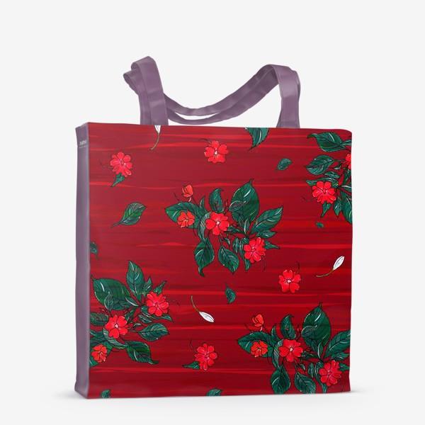 Сумка-шоппер «красные цветы. бальзамин»