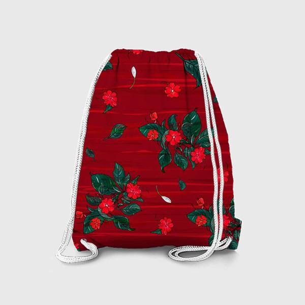 Рюкзак «красные цветы. бальзамин»