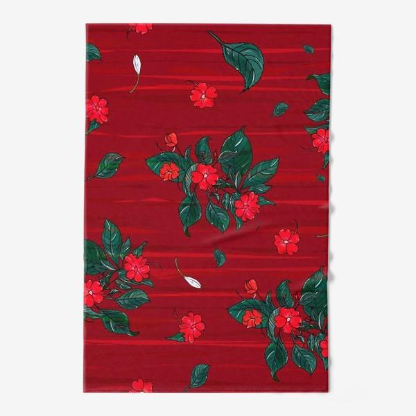 Полотенце «красные цветы. бальзамин»