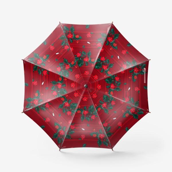 Зонт «красные цветы. бальзамин»