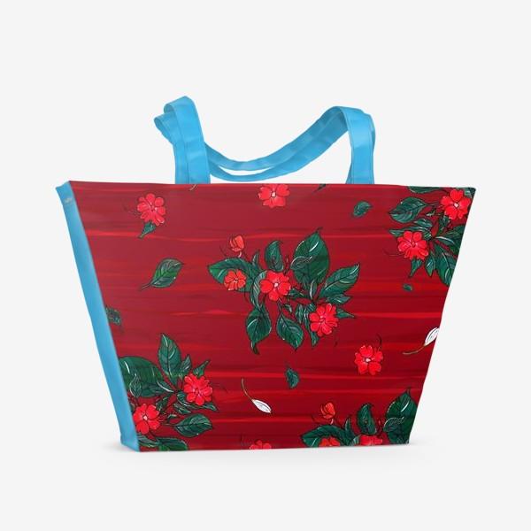 Пляжная сумка «красные цветы. бальзамин»