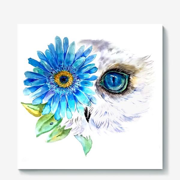 Холст «сова и цветок»
