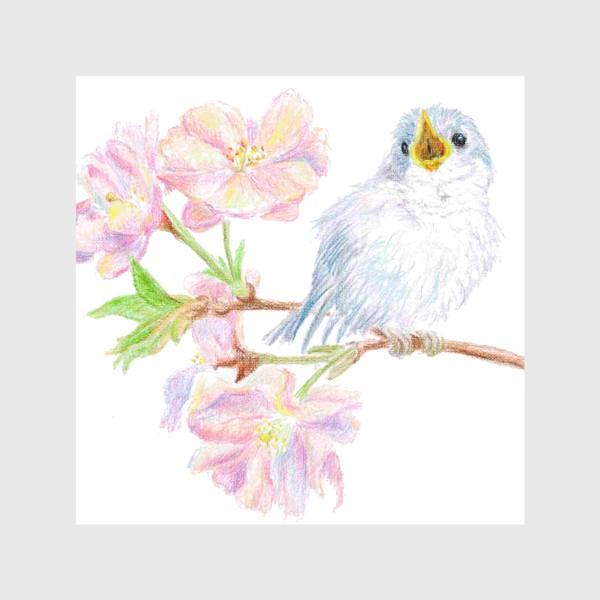 Скатерть «Птенец синицы на ветке яблони цветы»