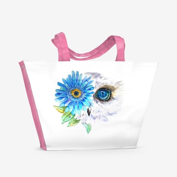 Пляжная сумка «сова и цветок»