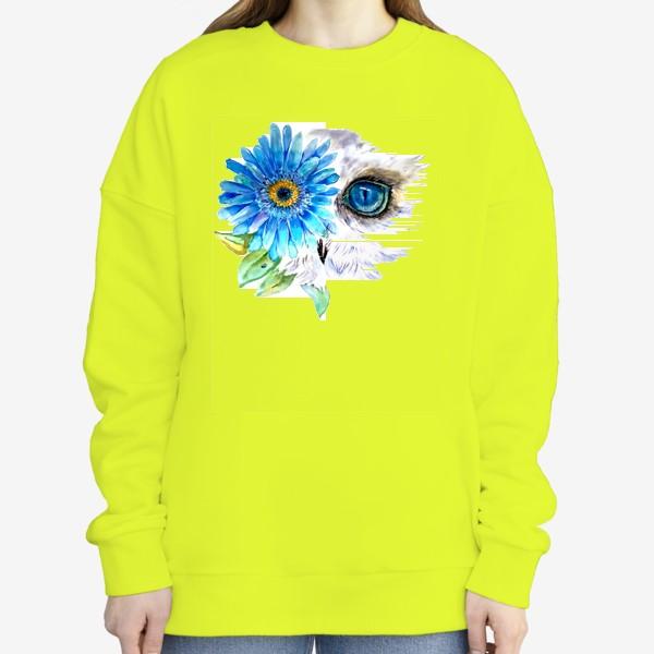 Свитшот «сова и цветок»