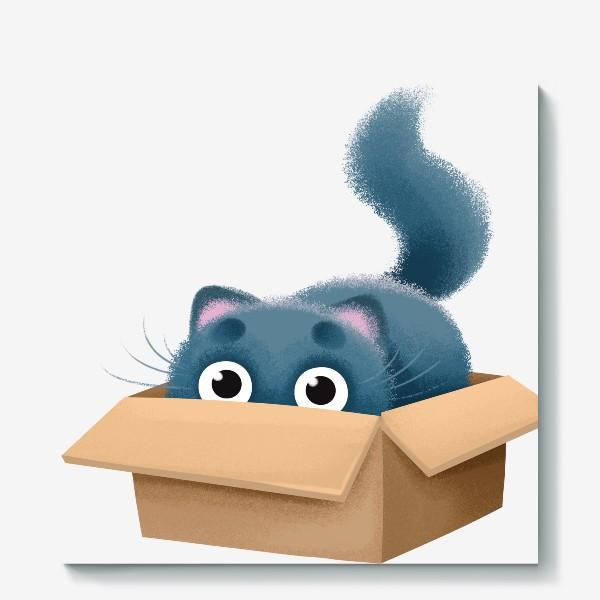 Холст «кот в коробке»