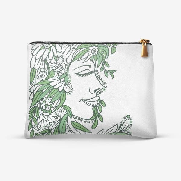 Косметичка «девушка весна стилизация растения и цветы»