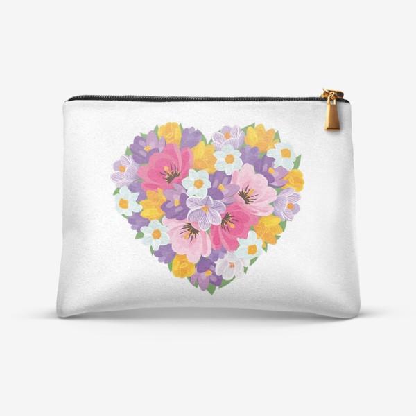Косметичка «Цветочное сердце из весенних цветов тюльпанов, крокусов, нарциссов»