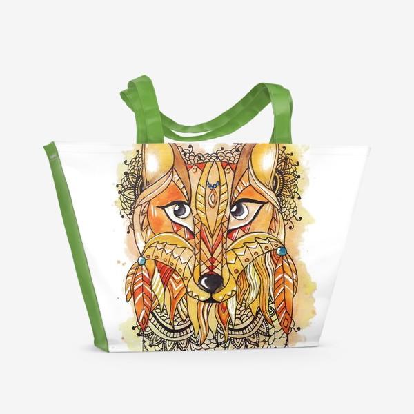 Пляжная сумка «Акварельная лиса»