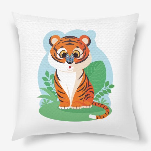 Подушка «Милый тигренок с бабочкой на носу»