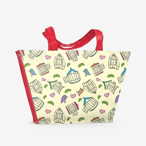 Пляжная сумка «Любовь и птички»