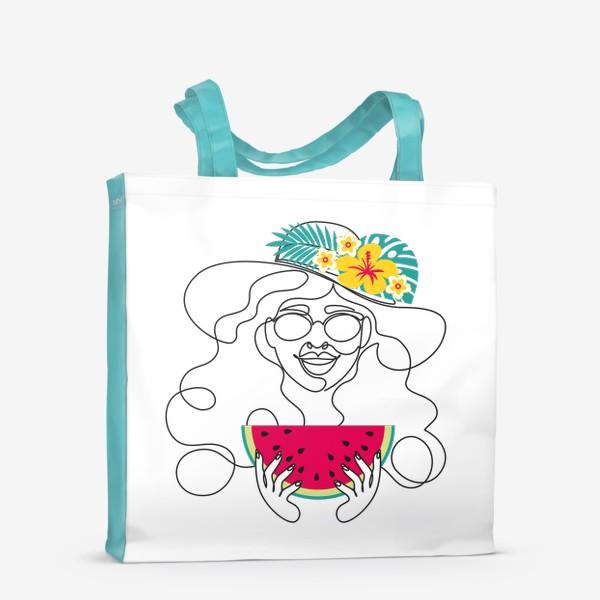 Сумка-шоппер «Девушка-лето. Графический абстрактный портрет девушки в шляпе с тропическими цветами, очках, с арбузом в руках»