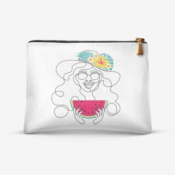 Косметичка «Девушка-лето. Графический абстрактный портрет девушки в шляпе с тропическими цветами, очках, с арбузом в руках»