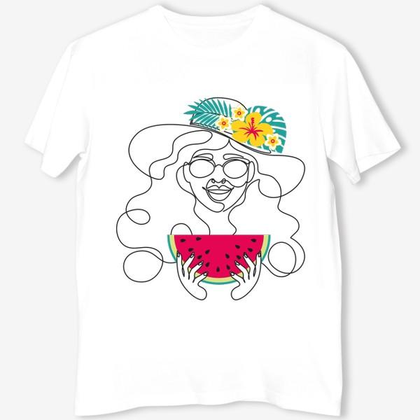 Футболка «Девушка-лето. Графический абстрактный портрет девушки в шляпе с тропическими цветами, очках, с арбузом в руках»