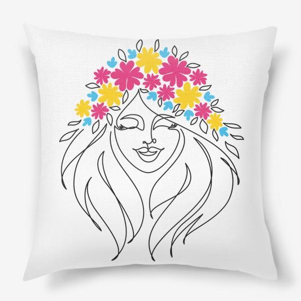 Подушка «Девушка-весна. Стильный графический абстрактный портрет двушки с цветочным венком на голове.»