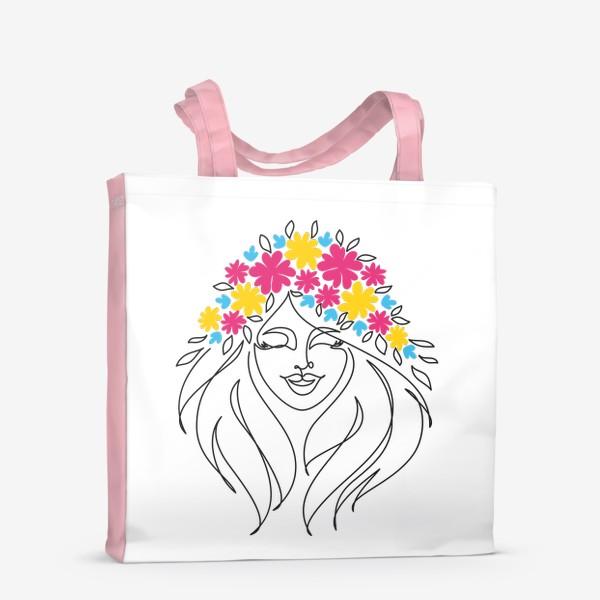 Сумка-шоппер «Девушка-весна. Стильный графический абстрактный портрет двушки с цветочным венком на голове.»