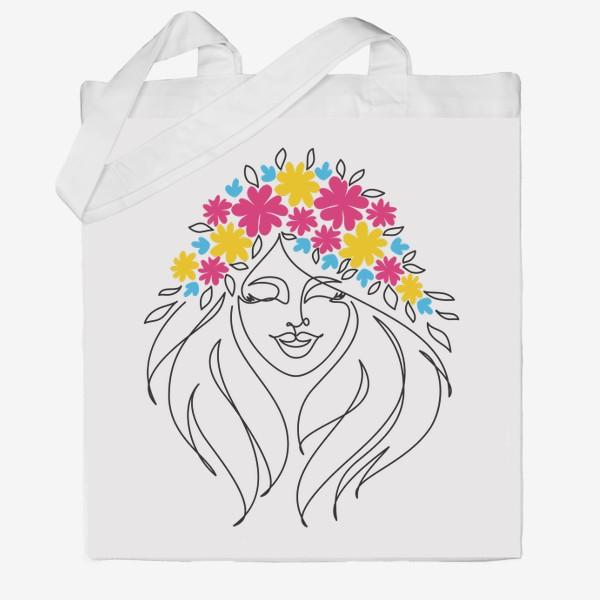 Сумка хб «Девушка-весна. Стильный графический абстрактный портрет двушки с цветочным венком на голове.»