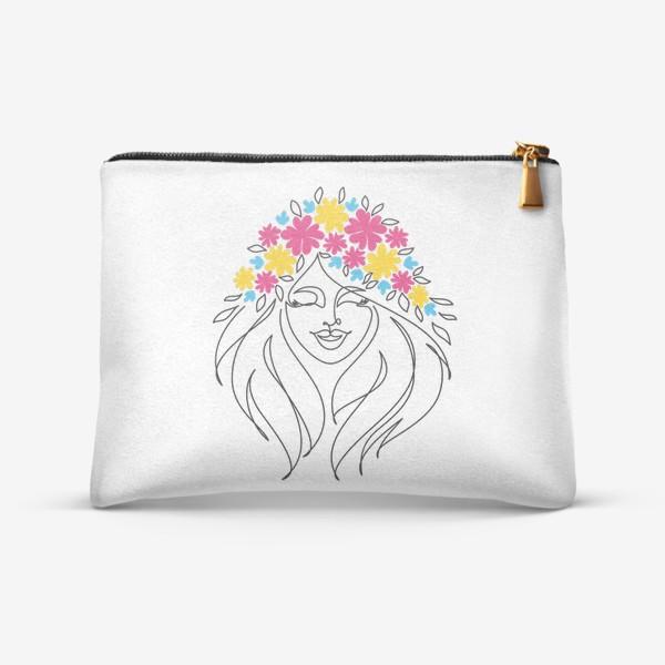 Косметичка «Девушка-весна. Стильный графический абстрактный портрет двушки с цветочным венком на голове.»
