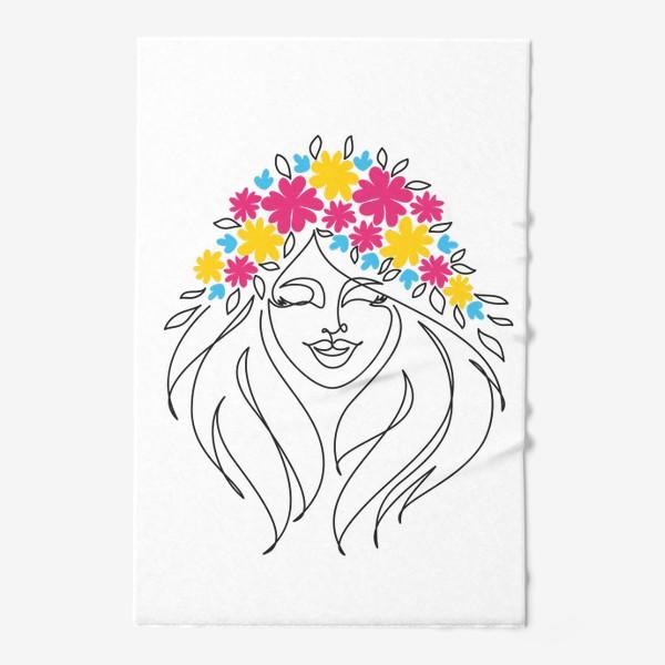 Полотенце «Девушка-весна. Стильный графический абстрактный портрет двушки с цветочным венком на голове.»