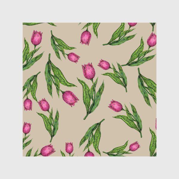 Шторы «Узор с тюльпанами на бежевом фоне»