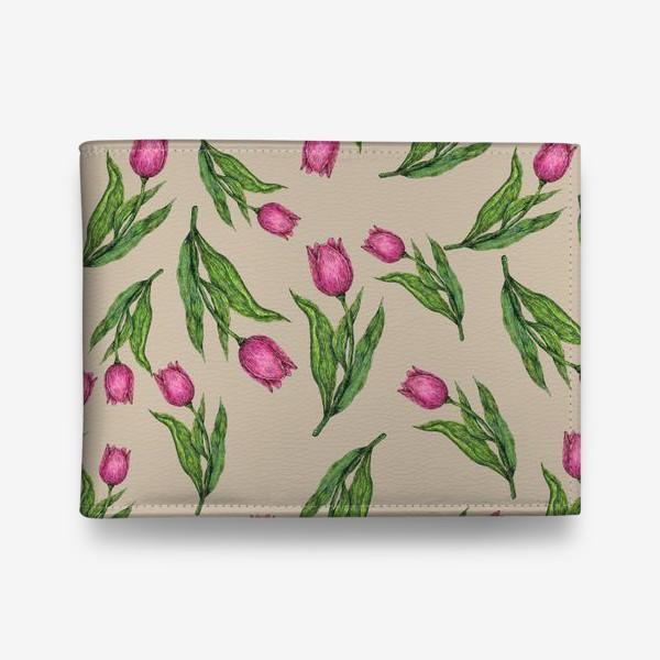 Кошелек «Узор с тюльпанами на бежевом фоне»