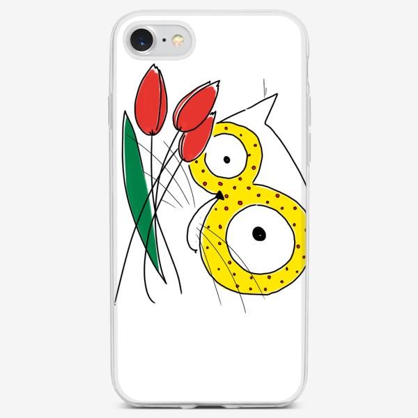 Чехол iPhone «Кот с тюльпанами. С 8 марта! Маме, бабушке»