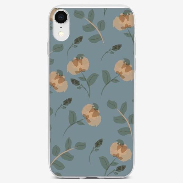 Чехол iPhone «цветы на сером фоне»