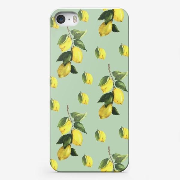 Чехол iPhone «Лимоны (зелёный фон)»