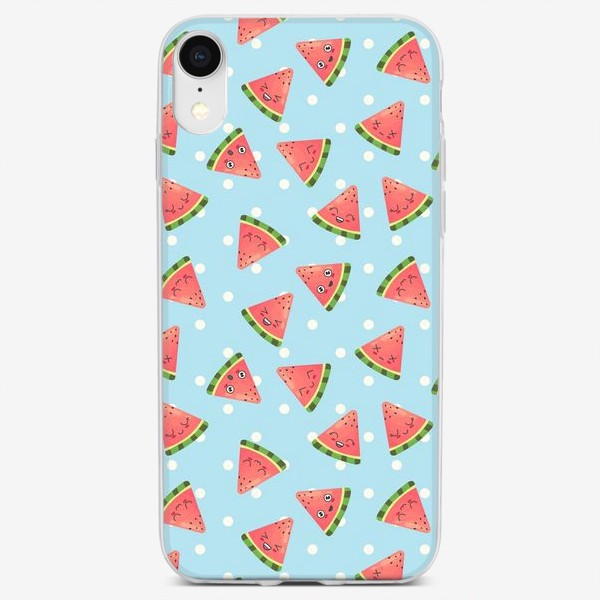 Чехол iPhone «Кавайные арбузы на голубом фоне»
