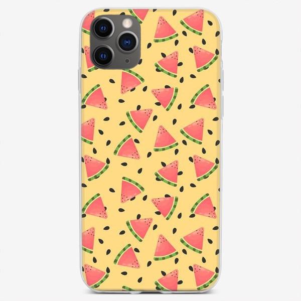 Чехол iPhone «Арбузики на желтом фоне»