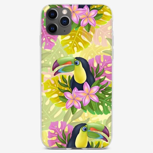 Чехол iPhone «Тукан на желтом»