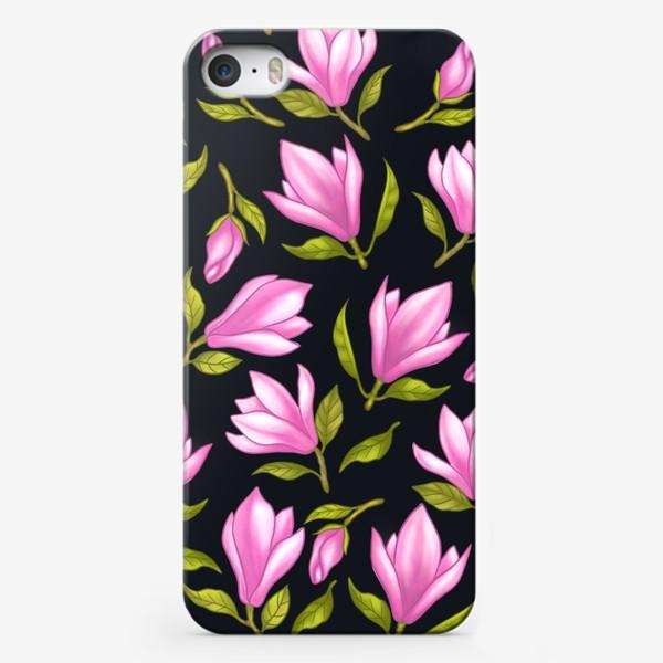 Чехол iPhone «Магнолии на черном»