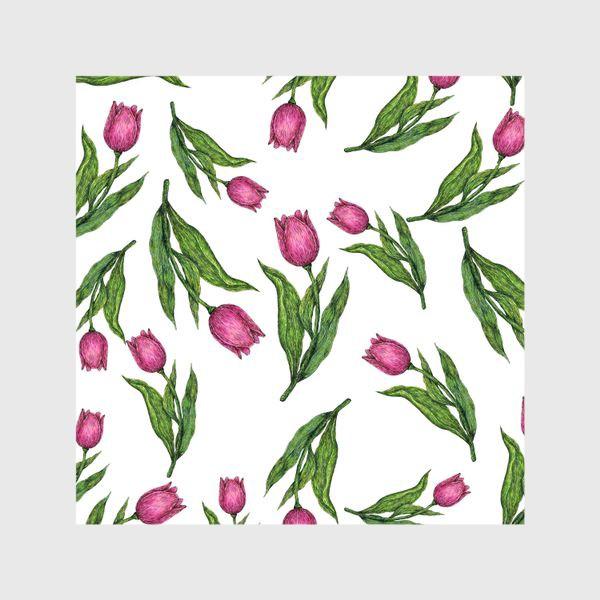 Шторы «Розовые тюльпаны на белом фоне»