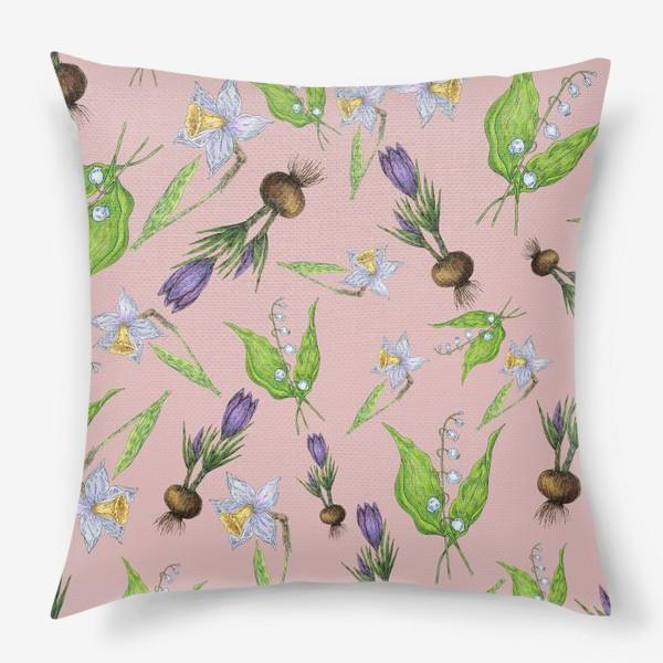 Подушка «Паттерн нежность с весенними цветами»