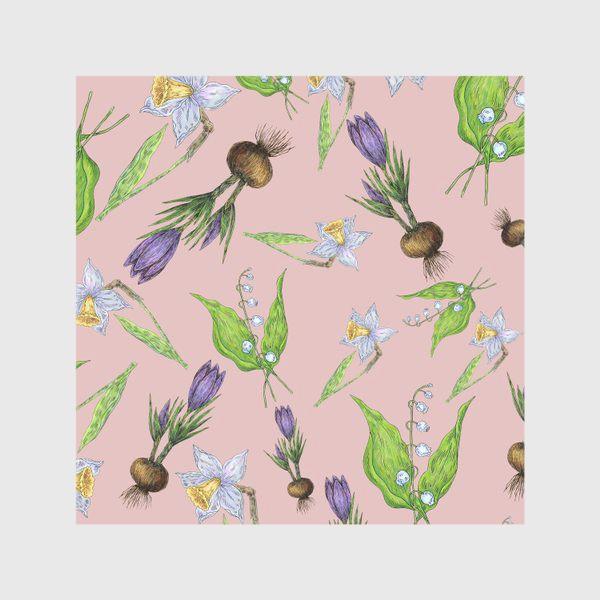 Скатерть «Паттерн нежность с весенними цветами»