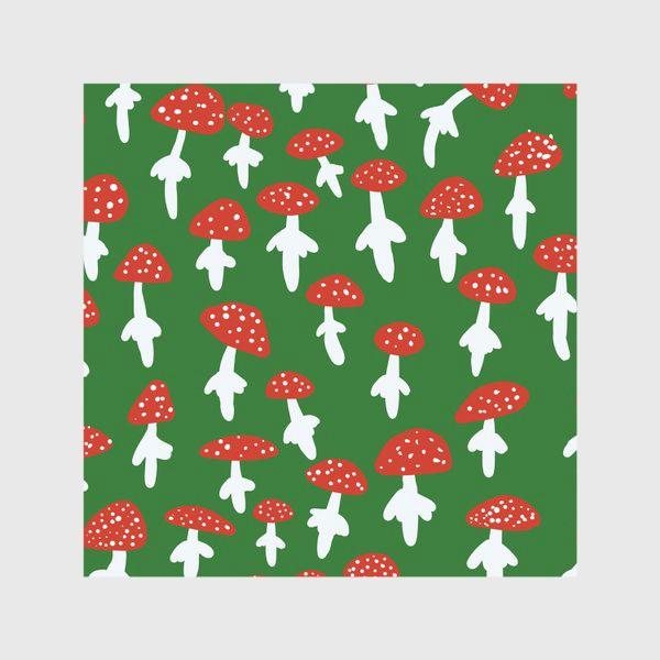 Скатерть «Грибы мухоморы на зеленом фоне»