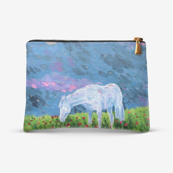 Косметичка «Белая лошадь в поле»