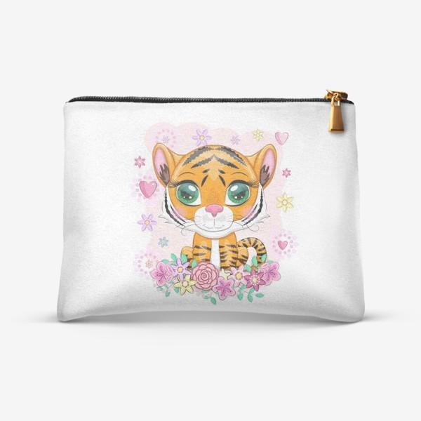 Косметичка «Тигренок в цветах. Амурский тигр»