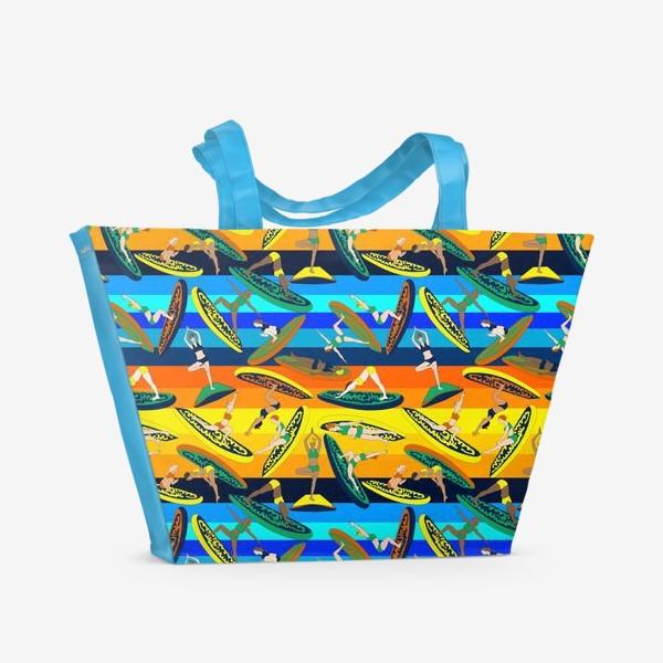 Пляжная сумка «Сап-йога, паттерн»