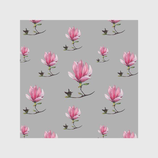 Скатерть «Магнолии на сером фоне Весенний узор Подарок на 8 марта Пастель»