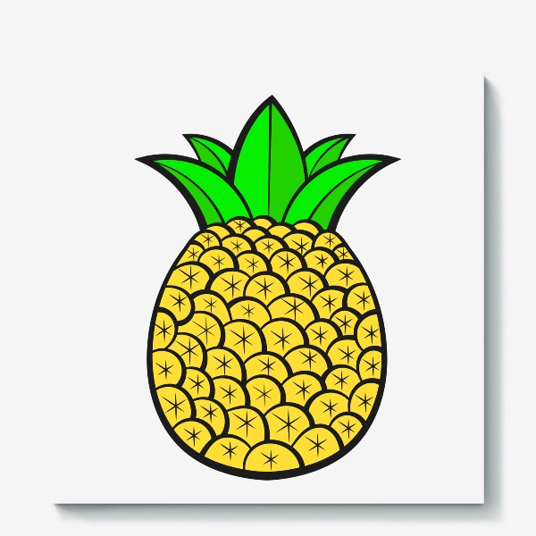 Холст «Summer Fruits For Healthy Lifestyle. Pineapple Fruit. Vector Illustration Cartoon Flat Icon Isolated»