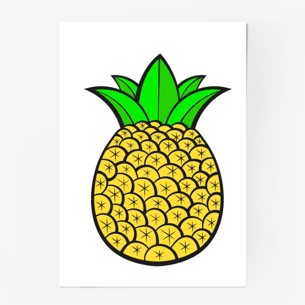 Постер «Summer Fruits For Healthy Lifestyle. Pineapple Fruit. Vector Illustration Cartoon Flat Icon Isolated»