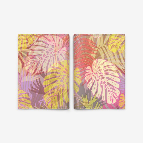 Обложка для паспорта «Тропический цветной прозрачный многослойный паттерн»
