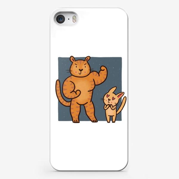 Чехол iPhone «Тигр-спортсмен и котик-фанат»
