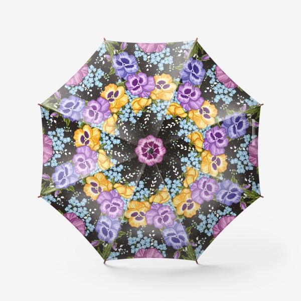Зонт «Анютины глазки(фиалки) и незабудки 2»