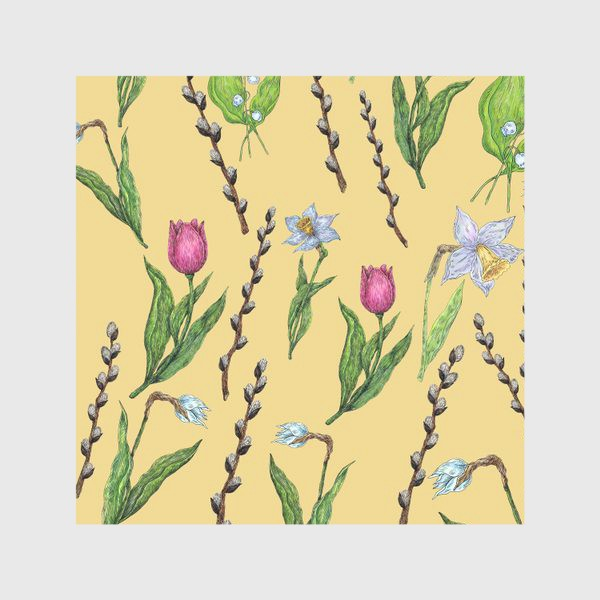 Скатерть «Узор с весенними цветами на желтом фоне»