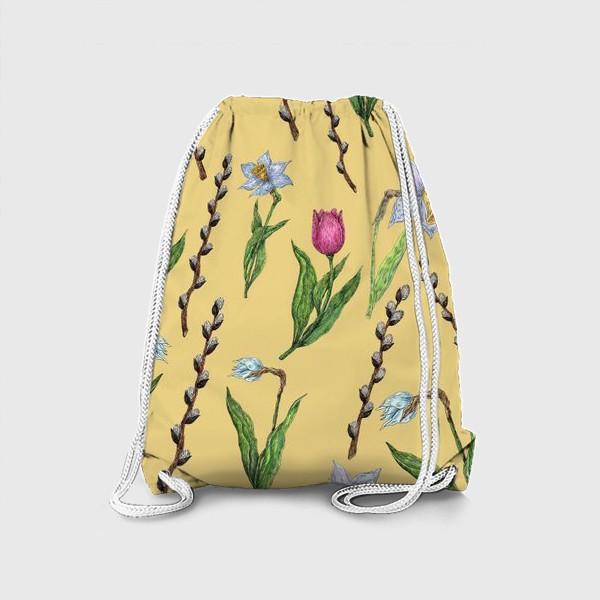 Рюкзак «Узор с весенними цветами на желтом фоне»