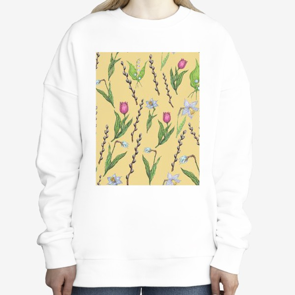 Свитшот «Узор с весенними цветами на желтом фоне»